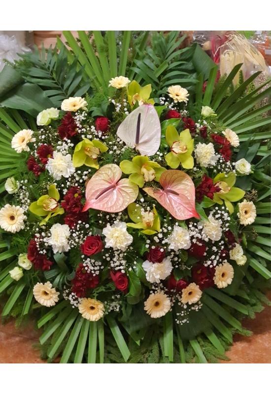 Vegyes koszorú színes virágokból_XS